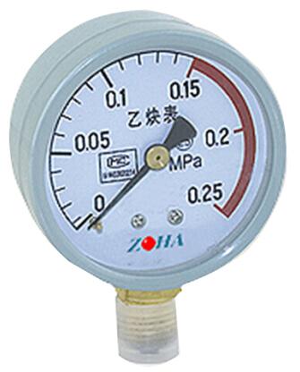 YY-100 乙炔压力表 西安自动化仪表一厂