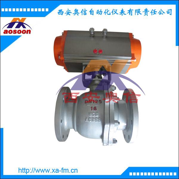 Q641气动不锈钢法兰球阀 西安气动不锈钢球阀