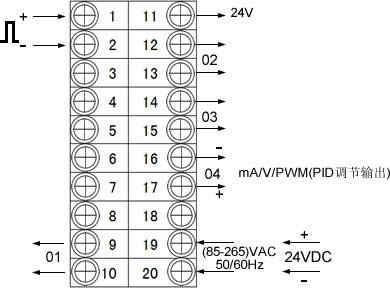 脉冲信号输入的仪表接线图